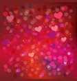 valentine background with hearts pattern in red vector image vector image