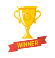winner gold cup icon in flat style design element vector image