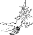 witch cartoon for coloring book vector image vector image