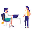 young women working in the office vector image
