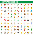 100 awards icons set cartoon style vector image