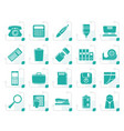 stylized simple office tools icons vector image