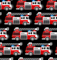 3D of a Red Fire and Rescue truck seamless pattern vector image