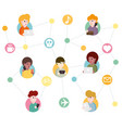 abstract social network scheme vector image vector image