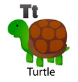 Alphabet T with turtle vector image