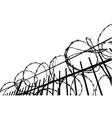barbed wire fence silhouetted on bright background vector image vector image