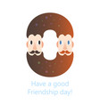 bearded males friendship donut logo - happy vector image vector image