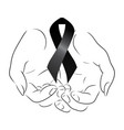 black mourning ribbon in the hands vector image