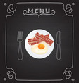 breakfast plate on blackboard menu vector image
