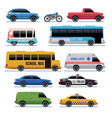 car flat icons public city transport bus cars vector image