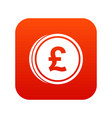 coins of pound icon digital red vector image vector image