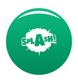 comic boom splash icon green vector image