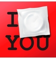 Condom with text I love you vector image vector image