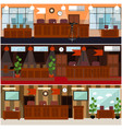 courtroom interior concept flat poster set vector image vector image