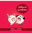 Cute kawaii characters with Valentines concept vector image