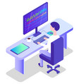 database center worker with computer in office vector image vector image
