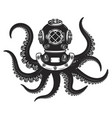 diver helmet with octopus tentacles isolated on vector image vector image