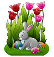 easter bunny with eggs in the flower garden vector image vector image