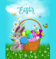 easter rabbit with flowers bouquet poster vector image