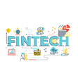 fintech financial technology word lettering vector image vector image