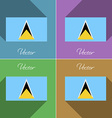 Flags Saint Lucia Set of colors flat design and vector image