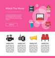 flat cinema icons landing page template vector image vector image