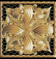 floral gold 3d panel pattern vector image