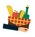 Food delivery online order Hand holding basket vector image