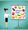 girl shows on board fruits and vegetables vector image vector image