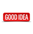 good idea red 3d square button on white background vector image vector image