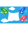 Graphic shape birds holding banner vector image vector image