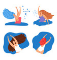 happy swimming women banners or icons set vector image