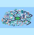 isometric city modern urban cityscape vector image