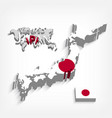 Japan 3d map and flag