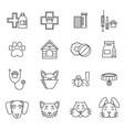 linear icons set veterinarian clinic different vector image vector image