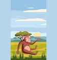 monkey on background african landscape vector image vector image