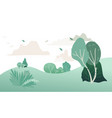 natural lanscape background with tree hills vector image vector image