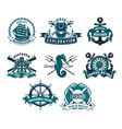 nautical and marine heraldic icons vector image vector image