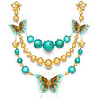 Necklace with Turquoise vector image vector image
