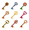 Old keys icons set vector image vector image