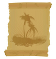 scroll with two palm trees vector image