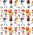 Seamless children playing sports vector image vector image