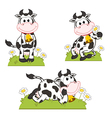 set isolated cow in meadow vector image vector image