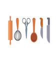 set kitchen utensils cooking tools flat vector image