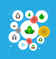 set of eco icons flat style symbols with leaf vector image