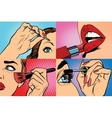 Set of makeup and cosmetic beauty woman vector image vector image