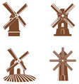 Set of windmill icons vector image