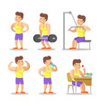 strong man cartoon body builder in gym vector image vector image