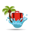suitcase water splash palm summer vacation vector image vector image