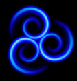 three an abstract blue swirls on black vector image vector image